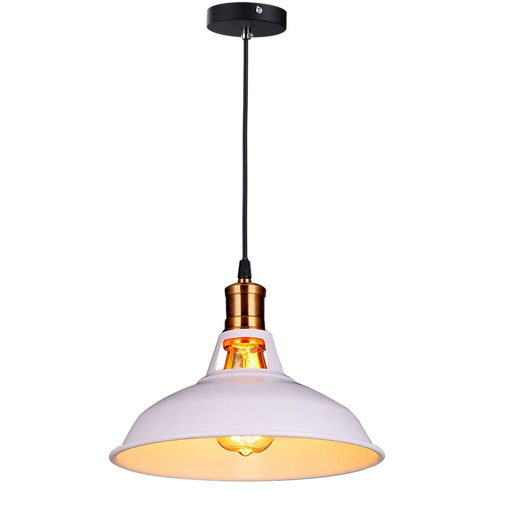 Retro Industrial Edison Simplicity Chandelier Vintage Ceiling Lamp with Metal Shiny Nordic style Shade (White)