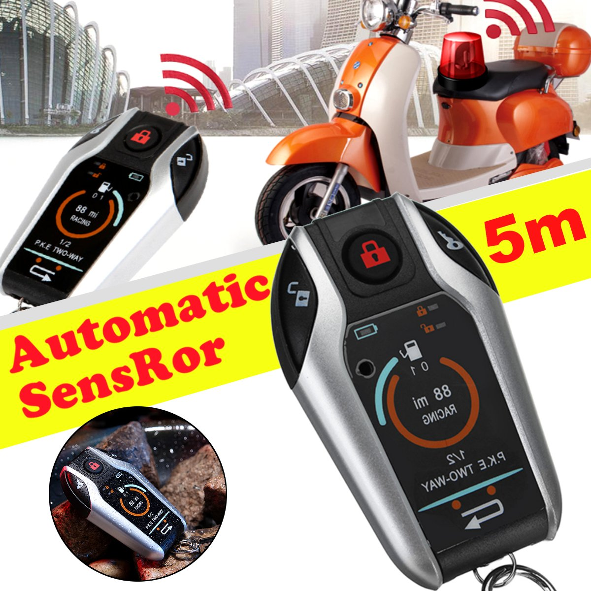 5M Automatic Sensor 2 Way Engine Start Motorcycle Bike Scooter PKE Alarm System Anti-theft Security Remote Control Alarm Lock