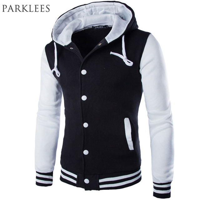 New Hooded Baseball Jacket Men 2017 Fashion Design Black Mens Slim ...