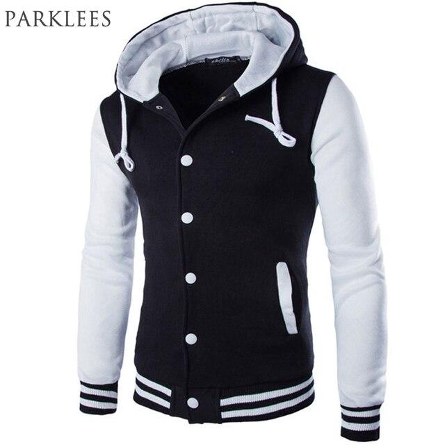 Nueva chaqueta de béisbol con capucha para hombre 2017 diseño a la moda  negro para hombre a893082938e10