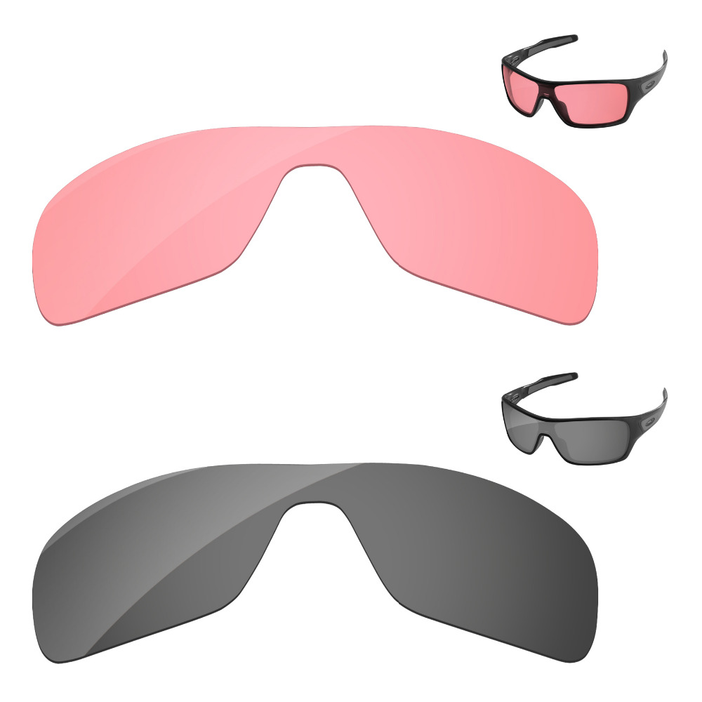 be327c0a1d4bb Black Chrome   Crystal Pink 2 Pieces Replacement Lenses For Turbine Rotor  Sunglasses Frame 100% UVA   UVB Protection