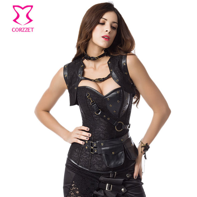 df7b0d92d69 Black Steel Boned Vintage Gothic Jacket Corset Top Sexy Corselet Steampunk  Plus Size Corsets And Bustiers