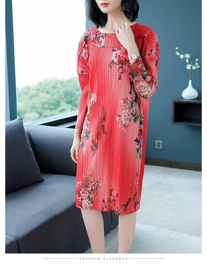 Nouveau printemps vêtement 2019 mode Style chinois collier de poupée grande taille mince Miyake durée de vie robes imprimées livraison gratuite