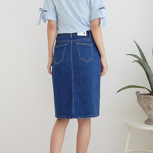 Image 3 - LEIJIJEANS New Arrival All season stretchy Knee length Embroidery Denim Skirts Plus Size Fashion Blue A line bule Women Skirts