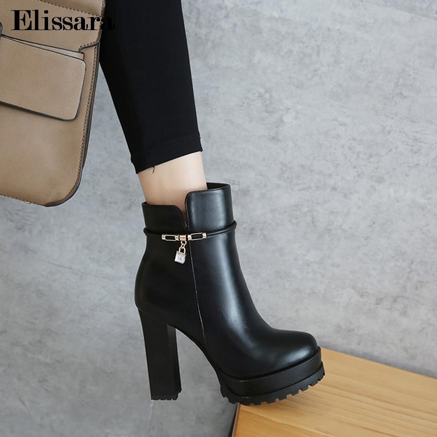 Plataforma Wintet Bloque 43 Negro Más Altos Botas 33 Botines Zapatos Tacones Tamaño Sexy Mujeres Zip Para Las Elissara rojo wq70YAaq