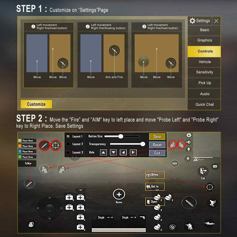 Wrumava Metal Game Trigger Mobile Button Smartphone Joystick Game L1 + R1  Shooter Controller PUBG / Survival Rule