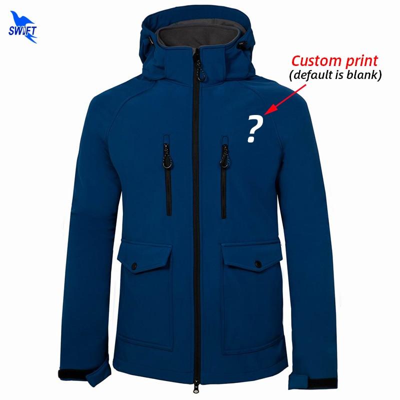 Custom Print Windproof Fleece Outdoor Softshell Jacket Men Waterproof Ski Camping Hiking Clothing Trekking Fishing Hooded Coat