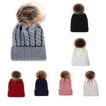 Winter Hats For Kid Knit Beanie Baby Hat 2018 Children Fur Pom Pom Hats For Girl