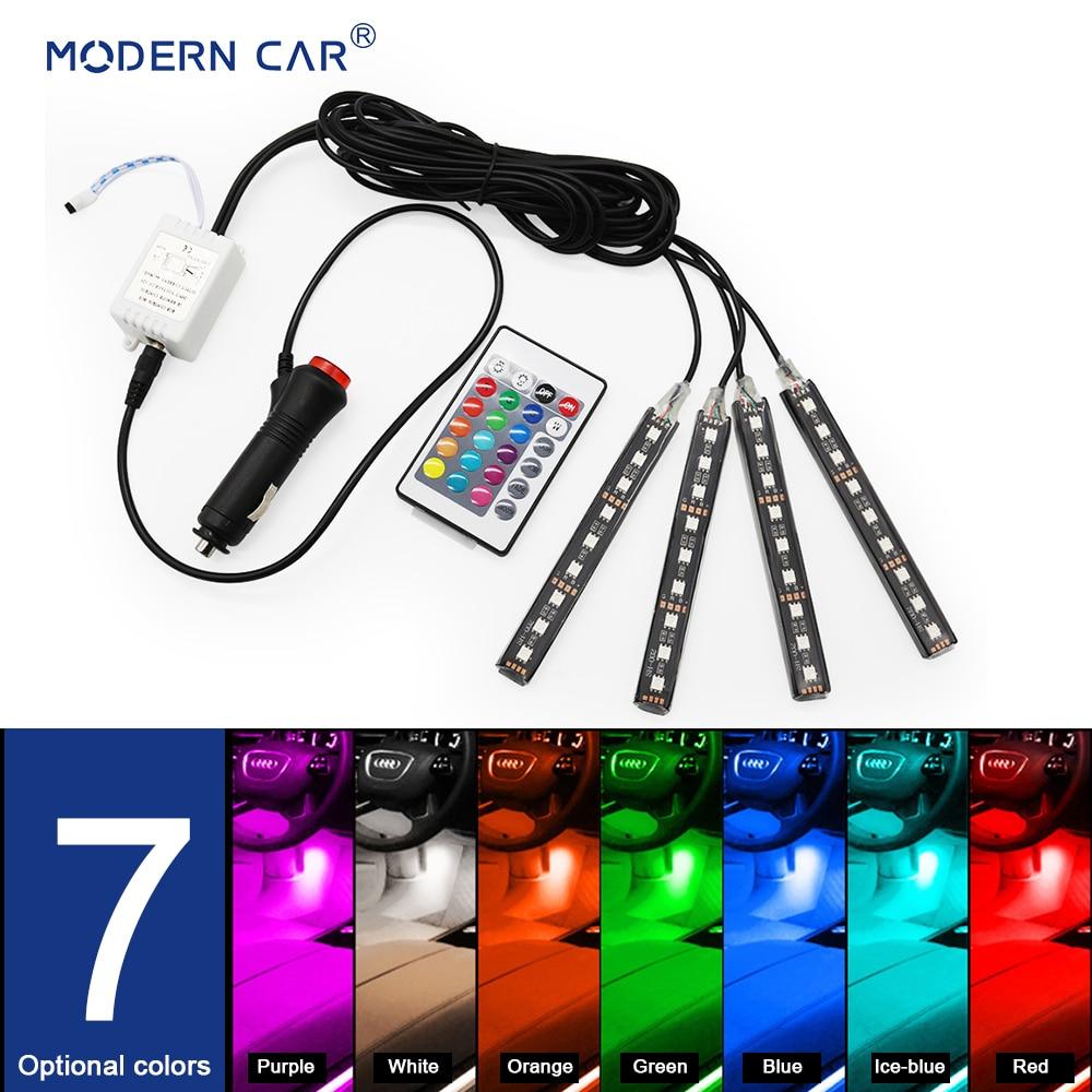 MODERN CAR RGB LED DRL Strip Light Car Interior Decorative Lights Automobile Atmosphere Lamp Remote/Voice/App Control Foot Lamps