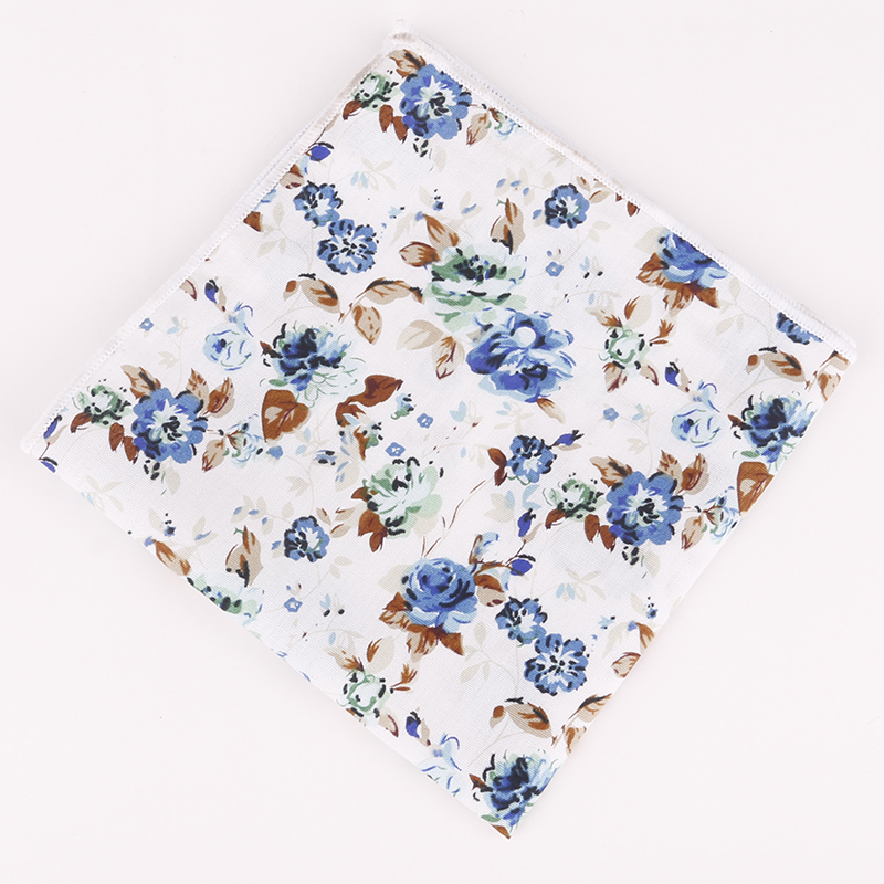 Handkerchiefs Men Cotton Floral Handkerchief Pocket Squares Formal Wear Business Suit Printed Hankies For Wedding