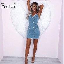 e625fe28b6 Feditch Sexy Women Blue Denim Dress Brand Slim Jeans Dresses Sexy Female  Vintage Bodycon Mini Dresses