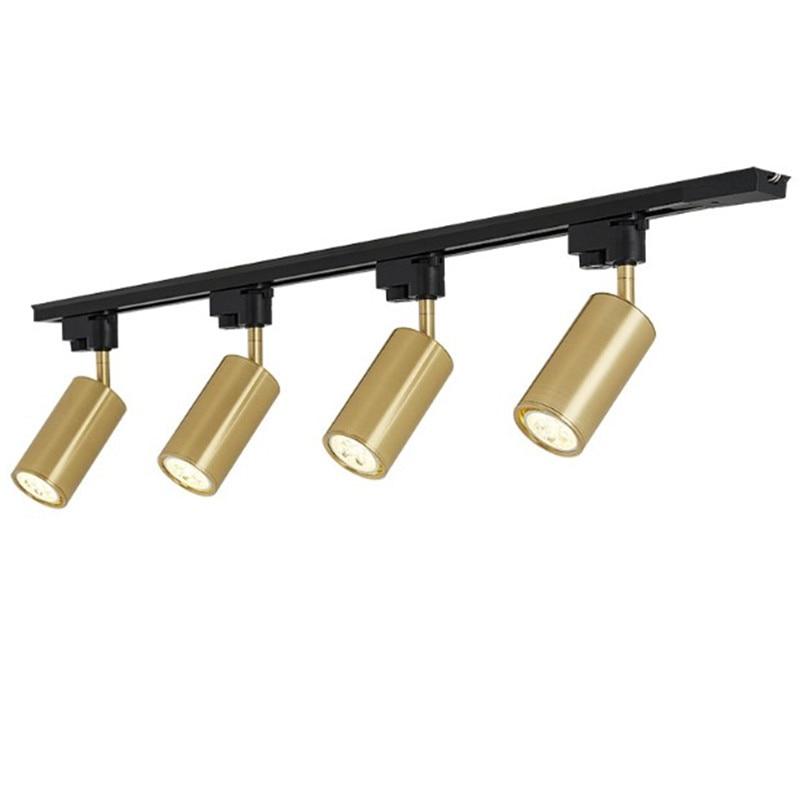Luxury brass copper track spotlights led ceiling lamp living room wall aisle bar Gu10 tracking light kit gold lamp