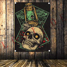 Rock Heavy metal music Tattoo flag banner Vintage poster tapestry Hanging painting wall hanging Bar cafe concert home decor(China)