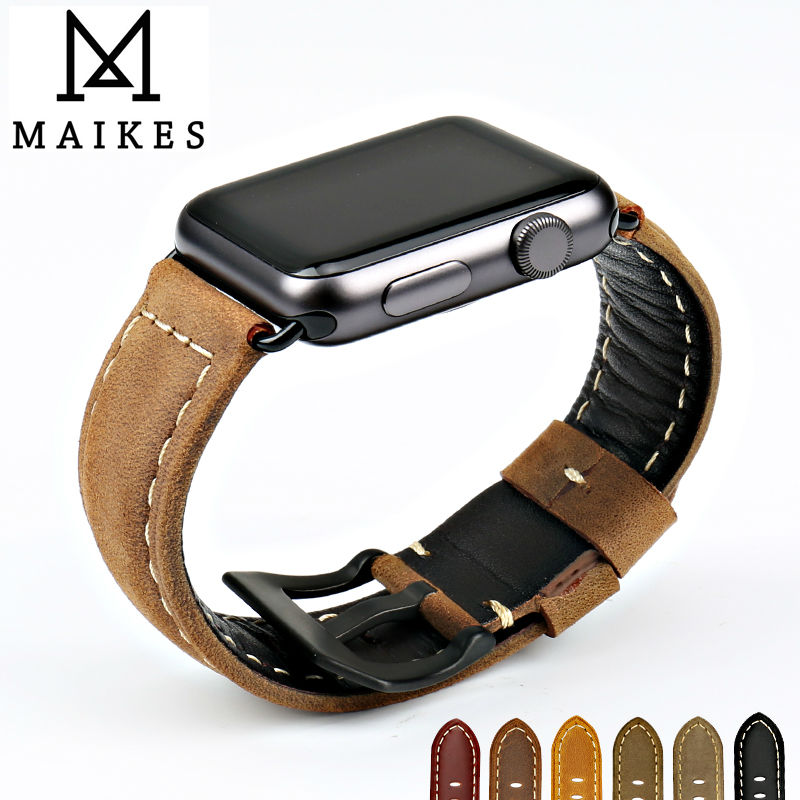 MAIKES new design vintage genuine cow leather watchbands watch accessory bracelet for apple watch band 42mm 38mm series 1 & 2 maikes 18mm 20mm 22mm watch belt accessories watchbands black genuine leather band watch strap watches bracelet for longines