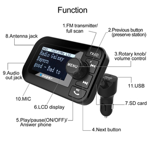 Image 2 - DAB 105 Multifunction Wireless Car Kit 5V/2.1A LCD Display Car Charger Bluetooth Handsfree Mp3 player DAB Adapter FM Transmitter
