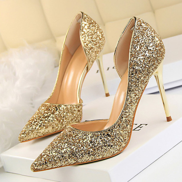 BIGTREE shoes New Women Pumps Sexy High Heels Gold kitten heels Sliver Wedding Shoes Ladies Shoes White  Women Shoes stiletto