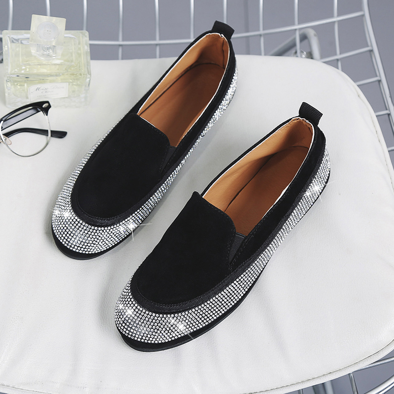 Moxxy Rhinestone Women Flats Genuine Leather Loafers Summer Women Casual Shoes Flat Comfortable Slip On Moccasins Zapatos Mujer new shallow slip on women loafers flats round toe fishermen shoes female good leather lazy flat women casual shoes zapatos mujer