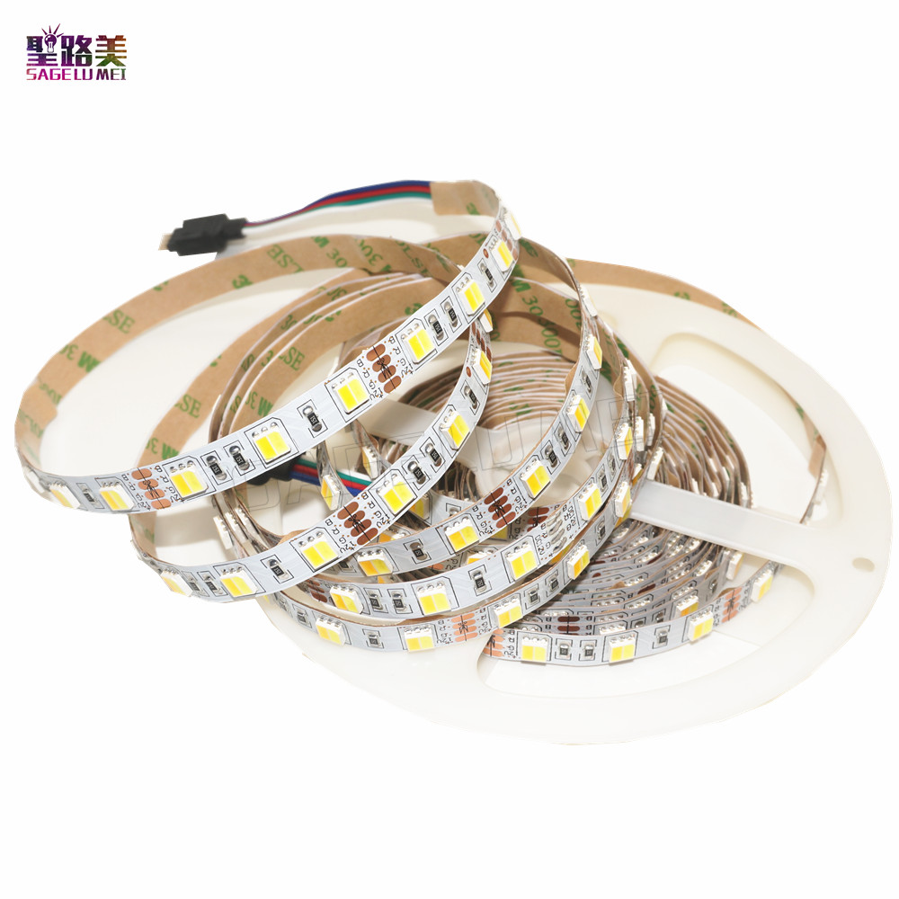 цена на 5m/roll DC12V Double Color 5050 LED Strip White / Warm White Dual White 2 color in 1 Chip Temperature Adjustable CCT led tape