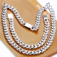 Free Shipping Wholesale Fashion Jewelry 10 MM Square Loop 2 Piece Set 925 Sterling Silver Necklace