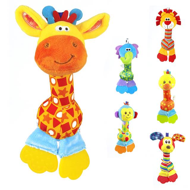 Soft Baby Toy 22cm Cartoon Animal Teether Rattle Squeaker BB Sounder Early Educational Doll Elephant Giraffe Lion Monkey Dog