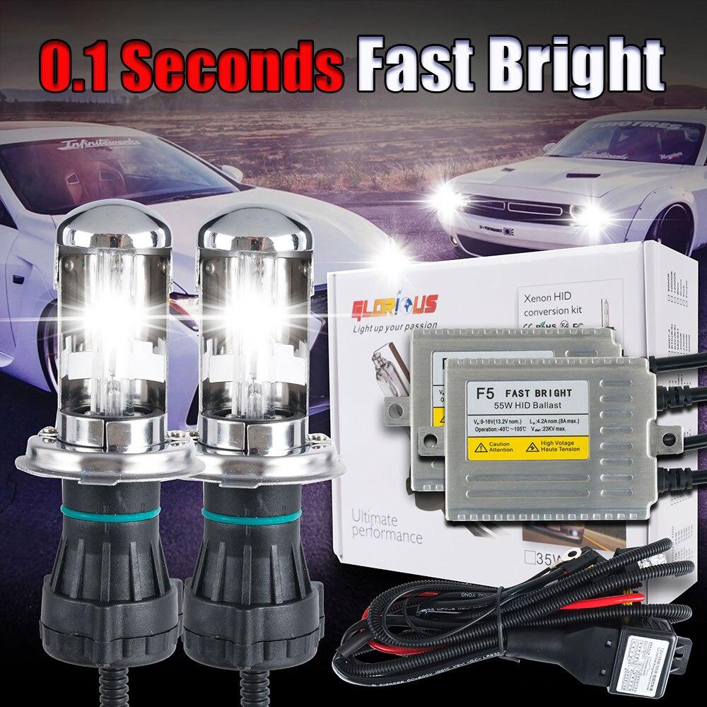 1 set H4 H13 9004/9007 4300 K 6000 K 8000 K 10000 K Hi Lo bi xenon HID kit rapide lumineux F5 12 V 55 W