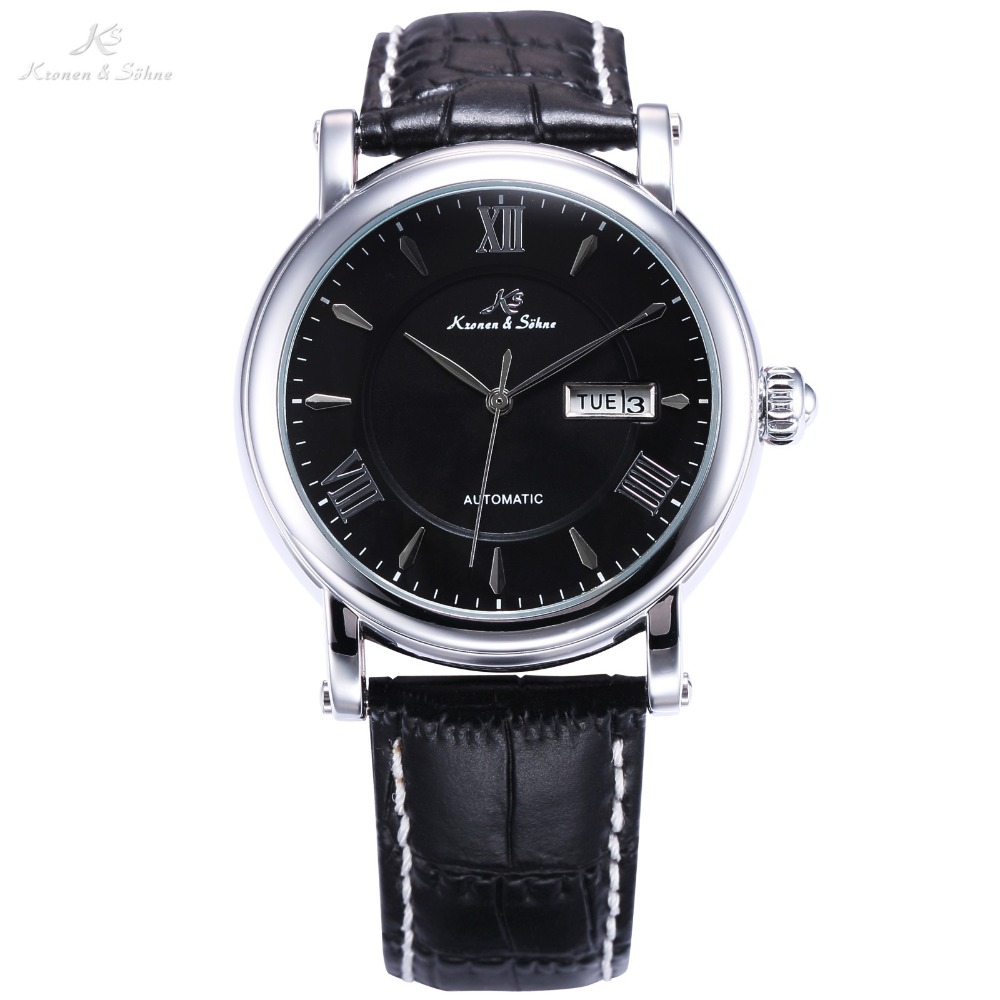 Classic KS Automatic Roman Analog Business Male Clock Black Dial Leather Band Auto Day Date Men's Mechanical Watch Gift /KS239 2017 auto date fashion classic black leather band analog mens casual clock simple design watch men automatic mechanical watch