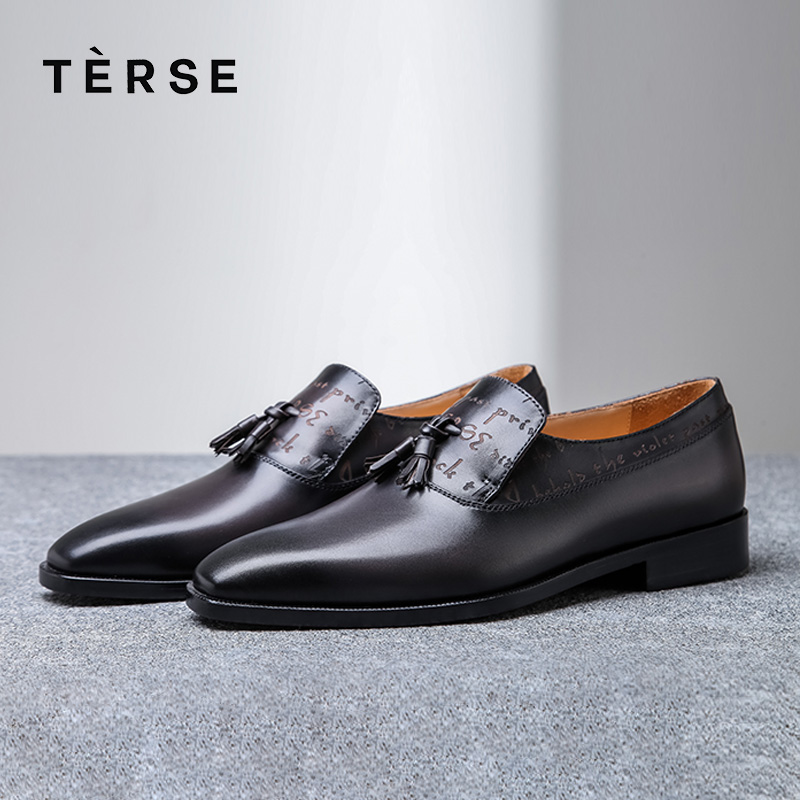 TERSE New Men`s Shoes Handmade Genuine Leather Dress Casual Shoes with Tassel Fashion Luxury Shoes High-Quality 2 Color 15770-20 simple men s casual shoes with criss cross and color block design