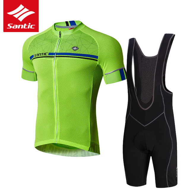 Santic Cycling Set Men Pro Team Triathlon Cycling Skinsuit 4D Padded MTB Road Bike Jersey Set Bicycle Clothing Ropa Ciclismo