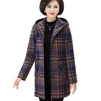 Plaid Woolen Coat Women Autumn Winter Plus cotton Thicken Windbreaker Middle aged Female Plus size 5XL Hooded Woolen Jacket 2339