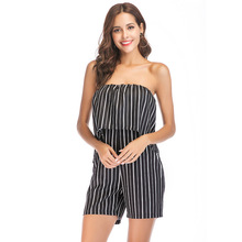 MUXU Summer striped sexy backless body woman clothes short ruffle jumpsuit strapless womens clothing casual streetwear jumpsuits недорого