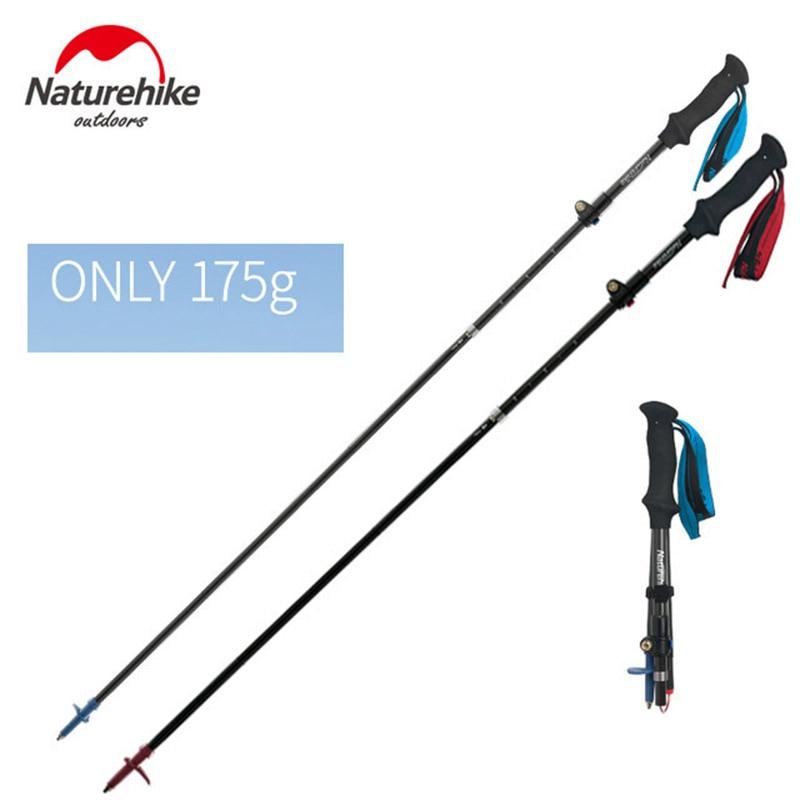 2 Pcs Naturehike Adjustable Trekking Poles 175g Super Light Carbon Fiber Walking Sticks Folding Outdoor Hiking Camping Canes