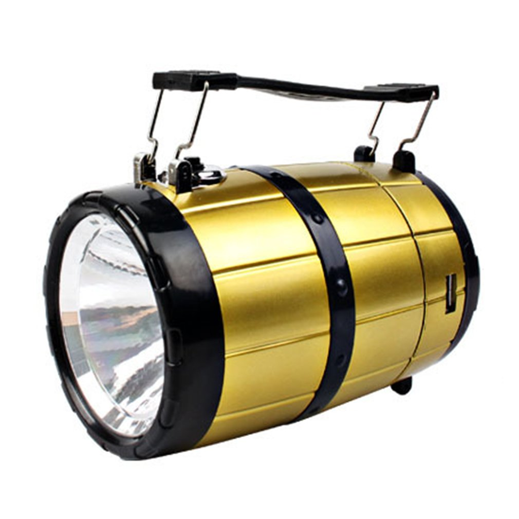 ICOCO Solar Power LED Retractable USB Camping Light Tent Flashlight Handheld Lamp Outdoor Emergency Charging Barrel-shaped