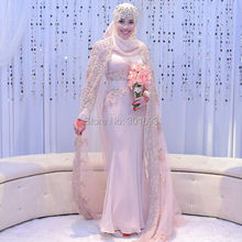 Oumeiya OW524 French Lace Appliques Beaded Pink Chiffon Mermaid High Neck Long Sleeve Hijab New Design Muslim Wedding Gown 2016