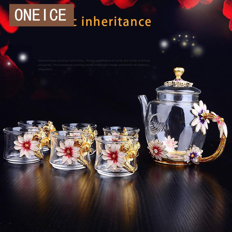 Enamel Tea Cup Teapot Set Kung Fu Cups 7 Sets Glass