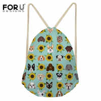 FORUDESIGNS Dogs and Cats Heads Sunflower Florals Pet Fashion Drawstring Bag Backpack Casual Shopping Bags Female Mochila 2019