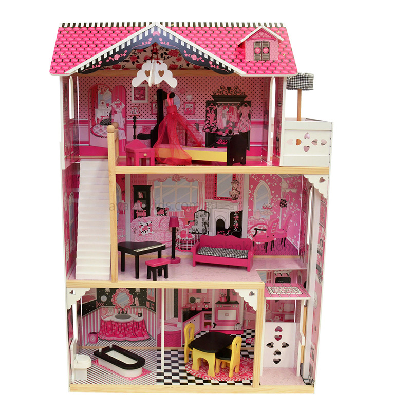 Girls Big Luxury Wooden House Pretend Toy Kids Pink Real Life Wooden Doll Villa with Doll