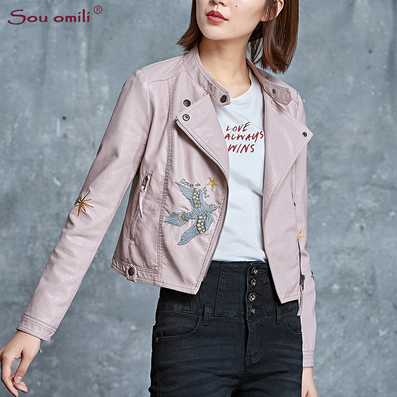 36ca6d298940 Bird Star Embroidery Leather Jacket Women Black Moto Coat Punk White Faux  Jacket jaquetas couro Casaco chaquetas PU Jacket -in Leather   Suede from  Women s ...