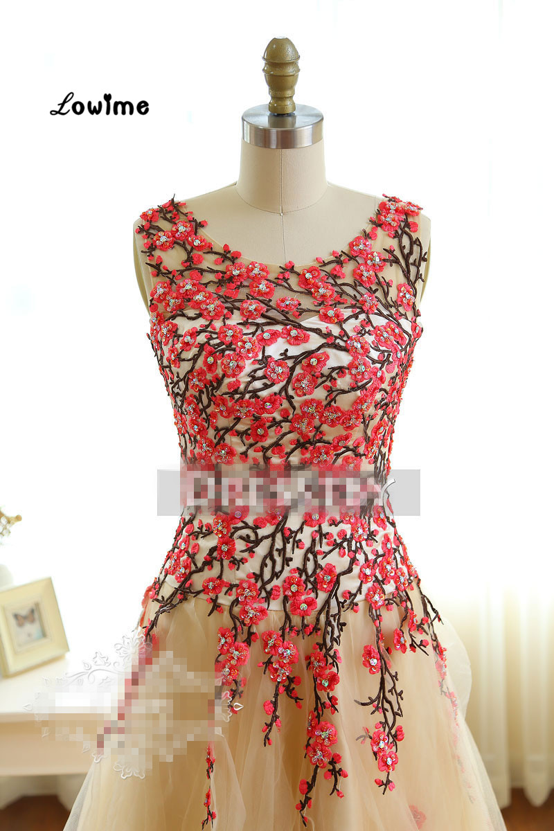 Latest Long Red Embroidery Formal Evening Party Dress Floral Turkish ...