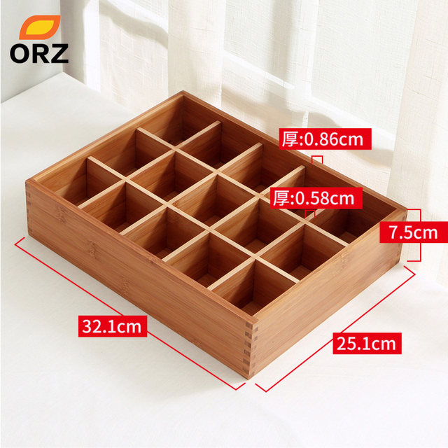 ORZ Socks Storage Box Bamboo Bin Clothes Bra Underware Ties Cosmetics Make  Up Jewelry Desktop Wardrobe Drawer Storage Organizer