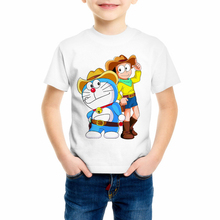 Summer white cartoon print short sleeve t shirt Doraemon Boy and girl kawaii tee Childrens high quality clothing C10-15