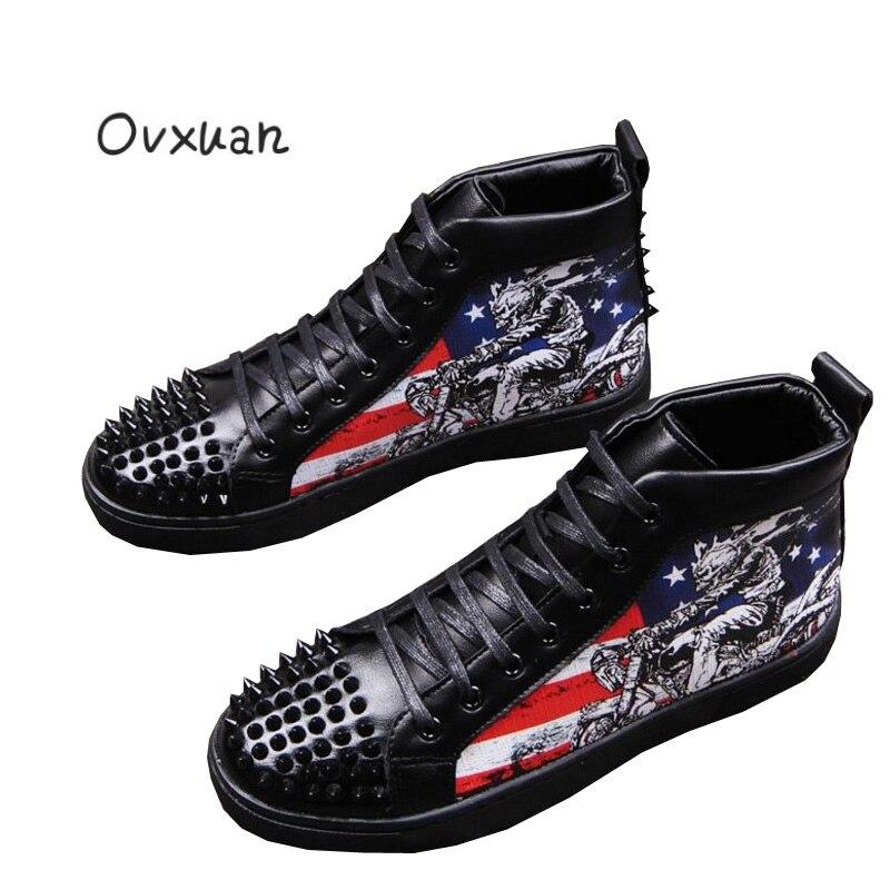Graffiti Partido Ovxuan Camuflaje Negro Punk Tobillo rojo multiple Vestido Toe Pisos Mocasines Hombres Negro Zapatos Botas Casual Remaches Hombre rxrEPqCw