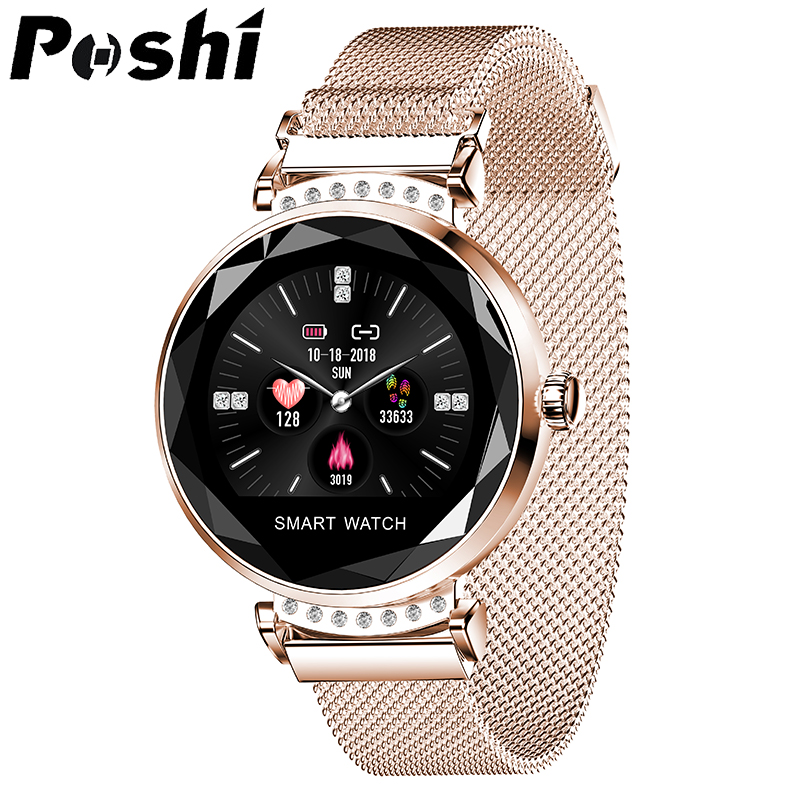 Newest Fashion Luxury H2 Smart Watch Women Heart Rate Blood Pressure Monitor Fitness Tracker Brightness Adjustment Smartwatch-in Women's Watches from Watches    1