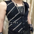 Cool Men's Fashion Rivet Sleeveless Vests Casual Waistcoats Perform Cotton Black Vests DJ Coats Slim Fit Button Vest Plus Size