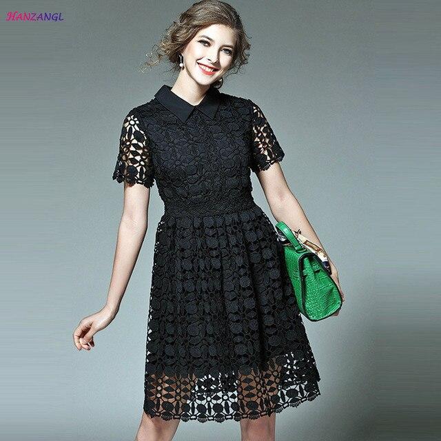 HANZANGL 2018 Brand Women Dress Short Sleeve Polo Collar Water-soluble  Cutout Summer Lace Dress 4b9745ade5c2