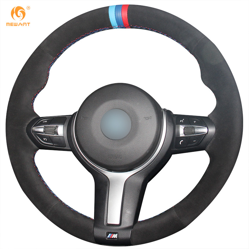 Mewant Black Suede Car Steering Wheel Cover For Bmw F87 M2 F80 M3 F82 M4 M5 F12 F13 M6 F85 X5 M