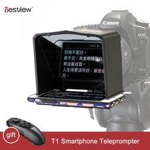 Bestview T1 스마트 폰 Teleprompter for Youtube 인터뷰 비디오 프롬터 모니터 Canon Nikon Sony DSLR 카메라 포토 스튜디오