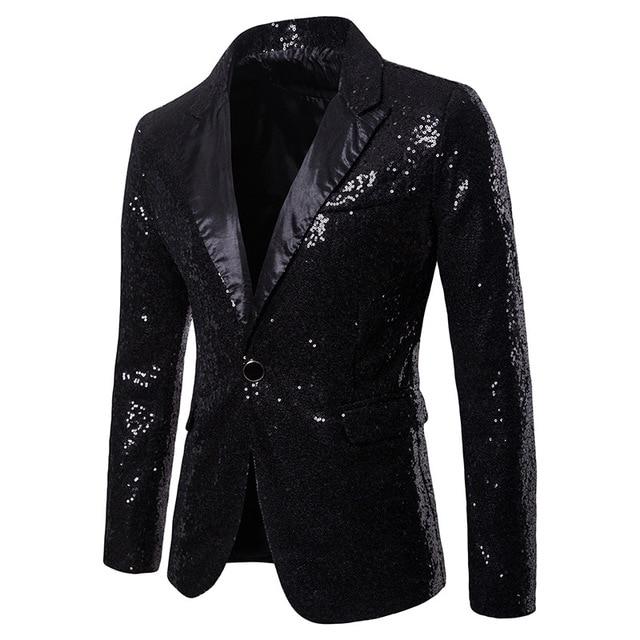 diseño innovador cb5de fddb9 € 14.41 5% de DESCUENTO Aliexpress.com: Comprar Blazer de lentejuelas para  hombre diseños más tamaño 2XL terciopelo negro dorado lentejuelas chaqueta  ...