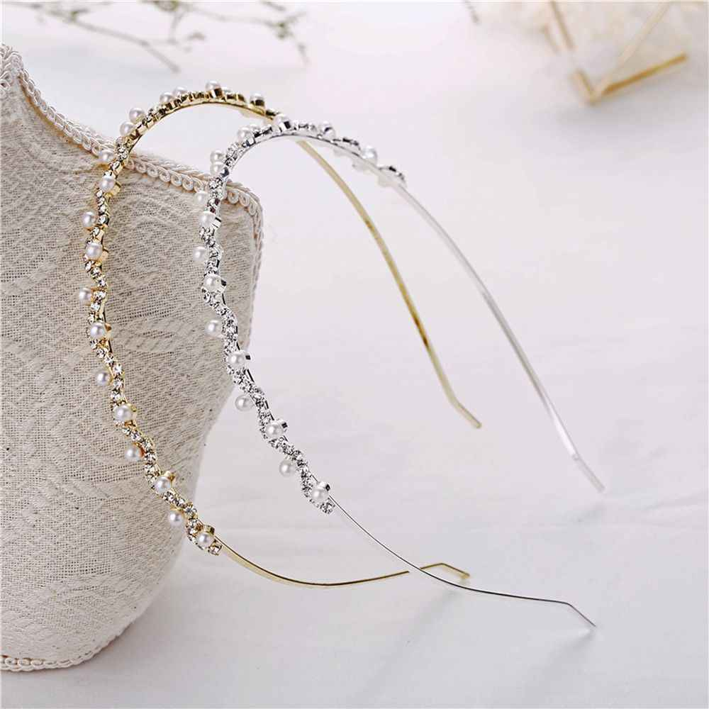 1PC Hot Crystal Rhinestone Pearls Wave Hairband Women Bridal Wedding Tiara Hair Accessories Crown Headband Fashion Hairwear