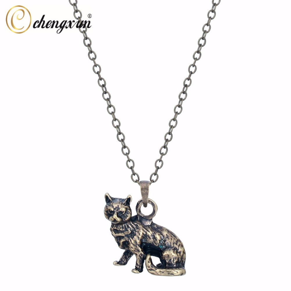 CHENGXUN Mysterious Cat Pendant Silver Gold Animal Suspensions Necklace Charm Choker Gift Jewelry for Women Male Kids Gifts