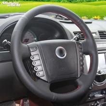 BANNIS сшитый вручную черный кожаный чехол на руль для Ssangyong Rexton W Rodius